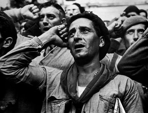 Robert Capa - Soldiers at farewell ceremony for the International Brigades.  Les Masies, Spain, 1938