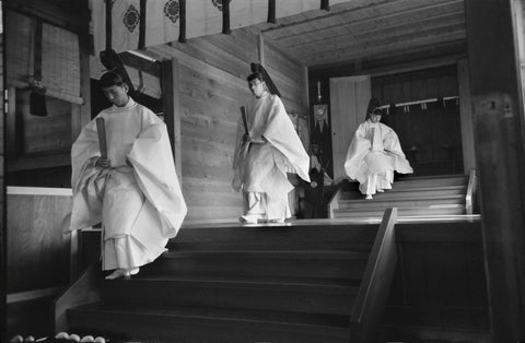 Werner Bischof - Three Shinto priests, Meiji Temple. Kyoto, Japan, 1951
