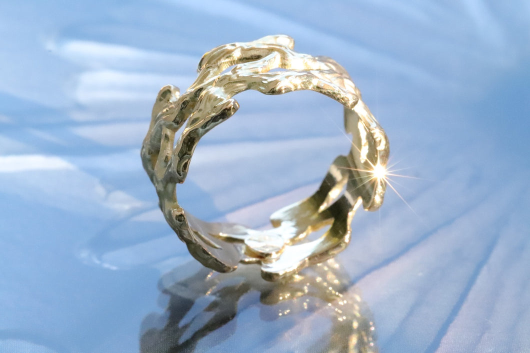 18K Gold Twig Ring / Woodland Ring