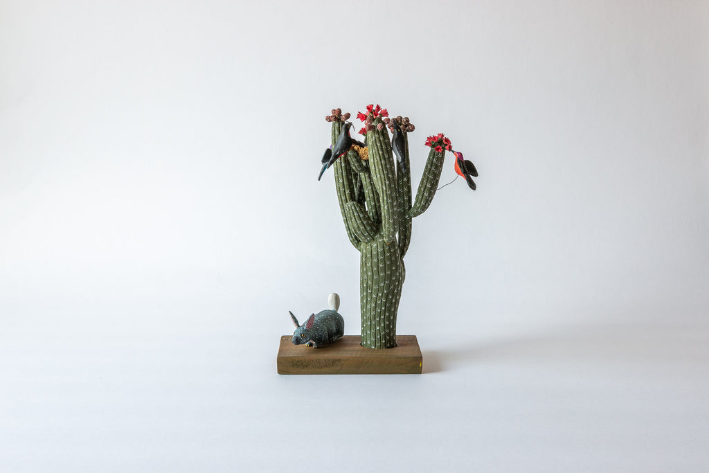 Cactus with Birds and Rabbit