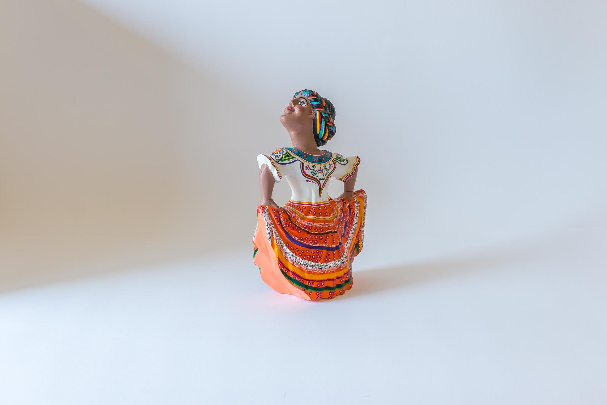 Oaxacan wood carving  Agustin Cruz Tinoco One Dancer Front View