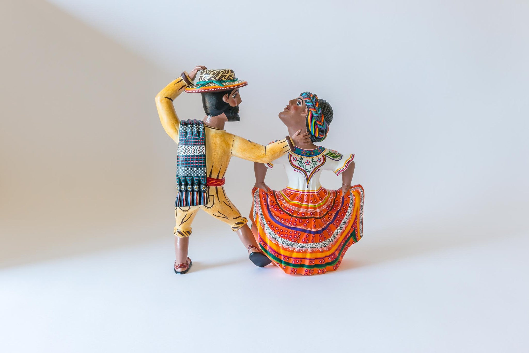 Oaxacan wood carving  Agustin Cruz Tinoco Two Dancers Back View
