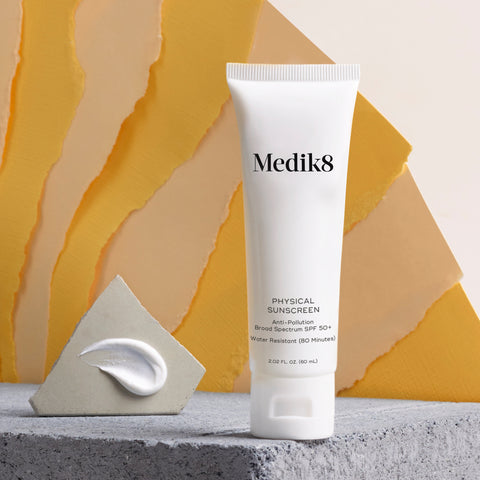 Physical Sunscreen SPF50+ by Medik8. An anti-pollution broad spectrum SPF 50+ that is water resistant (80 minutes).