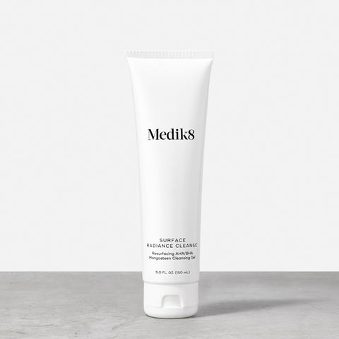 Surface Radiance Cleanse by Medik8. A  resurfacing AHA/BHA mangosteen cleansing gel.