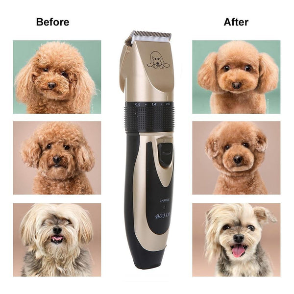 NOISE-FREE DESIGN PET HAIR CLIPPER - RECHARGEABLE DOG TRIMMER ANIMAL GROOMING CAT CUTTER MACHINE SHAVER ELECTRIC SCISSOR REMOVER HAIRCUT