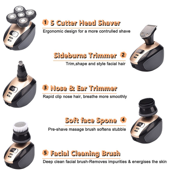 SUPERSHAVER MEN'S 5-IN-1 ELECTRIC SHAVER & GROOMING KIT - RECHARGEABLE 5 RAZOR BALD HEAD SHAVING MACHINE BEARD TRIMMER