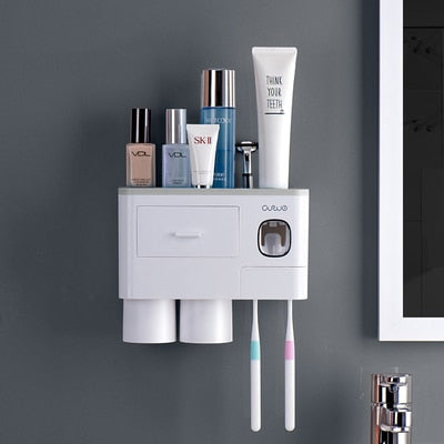 3 Color Bathroom Accessories Toothbrush Holder Automatic Toothpaste Dispenser Holder Wall Mount Rack Storage For Bathroom Home