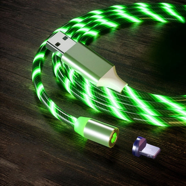 LIT - LED MAGNETIC CHARGING CABLE FOR IPHONE & ANDROID USB TYPE C CABLE MAGNETIC CABLE LED LIGHTING FAST CHARGING USB MICRO CHARGER CABLE WIRE HUAWEI SAMSUNG