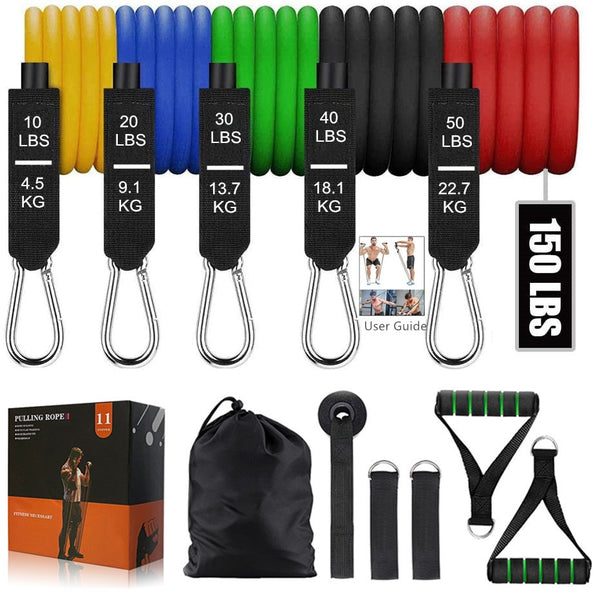 HOMEFIT RESISTANCE BAND 11PCS/SET - LATEX RESISTANCE BANDS GYM DOOR ANCHOR ANKLE STRAPS WITH BAG KIT SET YOGA EXERCISE FITNESS BAND RUBBER LOOP TUBE BANDS