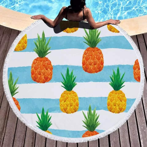 Fruit Cover Up Large Microfiber Round Beach Towel Pineapple Colorful Thick Terry Cloth Beach Blanket Circle Serviette De Plage - Univers Ananas