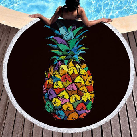 Pineapple Round Beach Towel Tassel Polyester Large Blanket Picnic Yoga Mat Travel Boho Table Cloth Toalla De Playa Home Decor - Univers Ananas