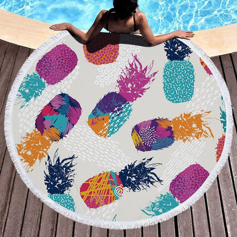 Summer Selva Leaves Pineapple Mandala Round Beach Towel Microfiber Printed Terry Cloth with Tassel Yoga Mat Serviette De Plage - Univers Ananas