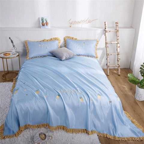Summer Cold sleeping Mat Miss pineapple Ruffles Bed Sheet Luxury Embroidery thin bedspread Luster Pillowcases 3pcs Soft cool - Univers Ananas