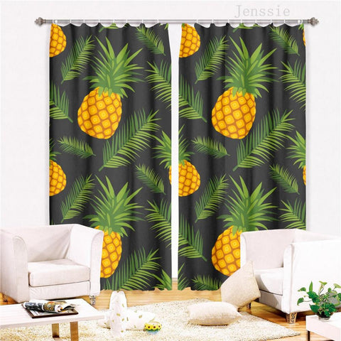 3D Printed Painted Fruit Pineapple Room Curtains Large Window Living Room Curtains Kitchen Indoor Fabric Window Treatment