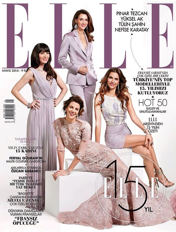 Models Nefise Karatay and Yüksel Ak wearing Begüm Salihoğlu Couture evening gowns on the cover of ELLE magazine's 15th year anniversary!