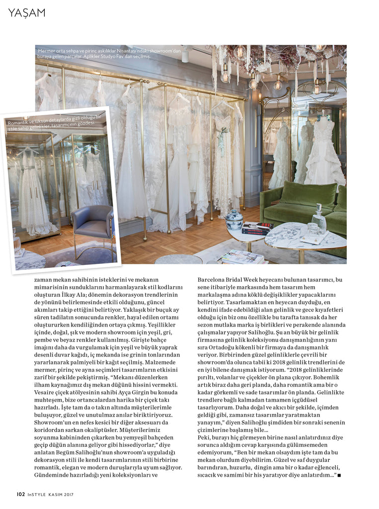 BEGUM Bridal Design House showroom designed by İlkay Ala is featured on Instyle Home magazine