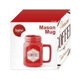Mason jar mok 400ml rood