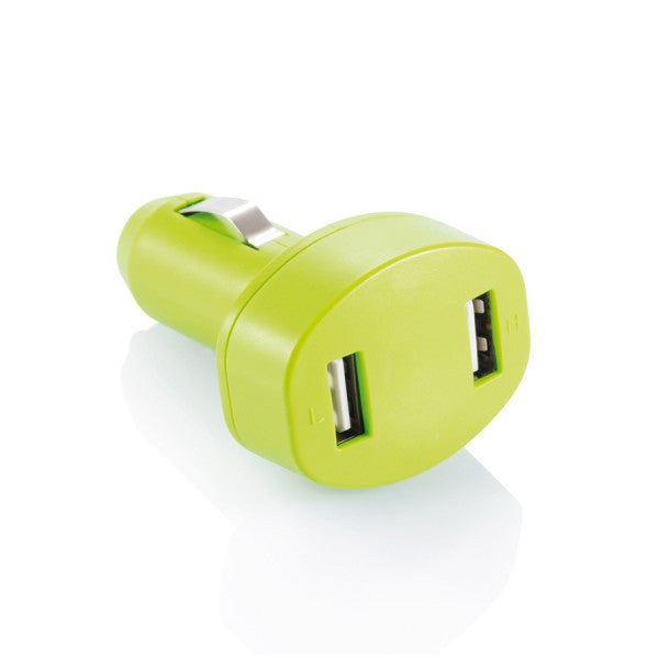 Double USB car charger groen