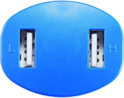 Double USB car charger blauw
