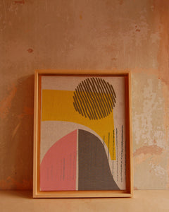 Wall art - pink hills and stripy sun