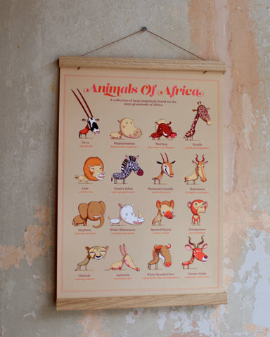 The Children's Guides to Natural History: Animals of Africa (with solid wood hanger frame)