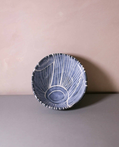 Tape resist stoneware bowl, blue and white stripes 1