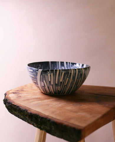 Tape resist stoneware bowl, blue and white stripes 2