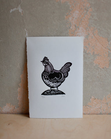 H is for Hen lino print