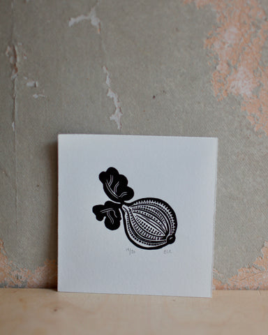 G is for Gooseberry lino print