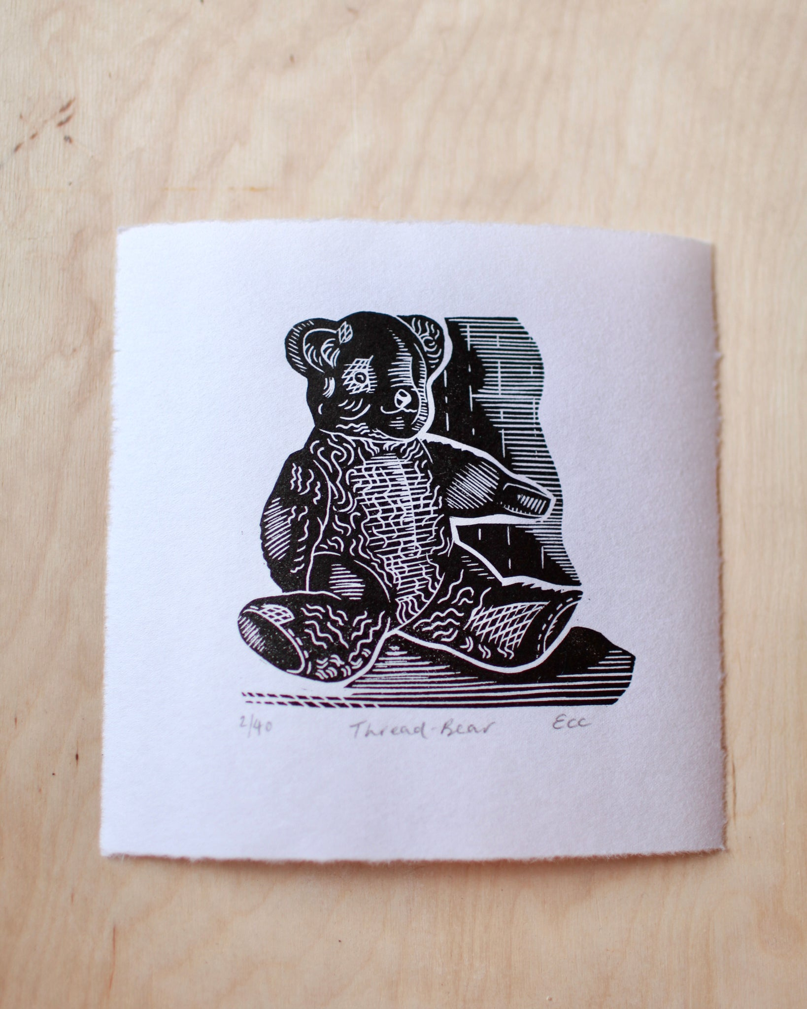 Thread-bear lino print