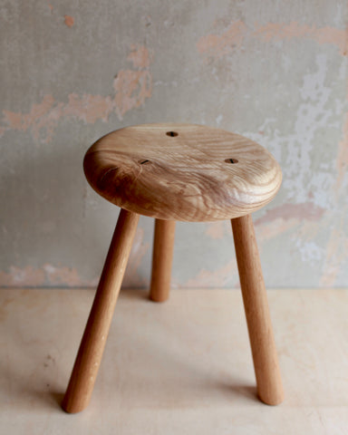 Large three legged wooden stool