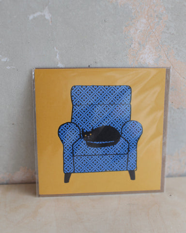 'Cat on a chair' Greetings Card