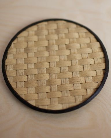 Ebonised oak dish with woven ash