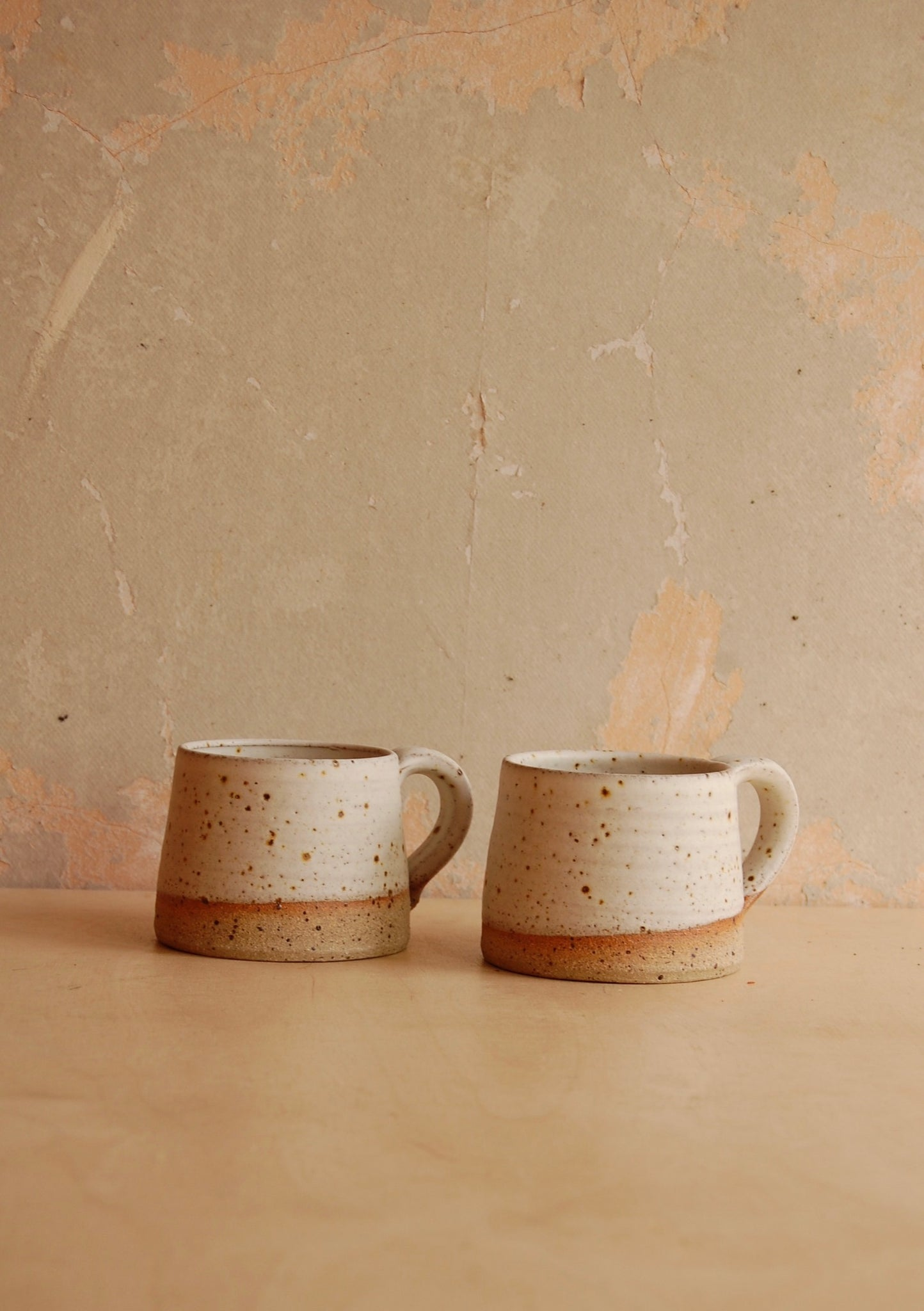 Pair of oatmeal stoneware mugs