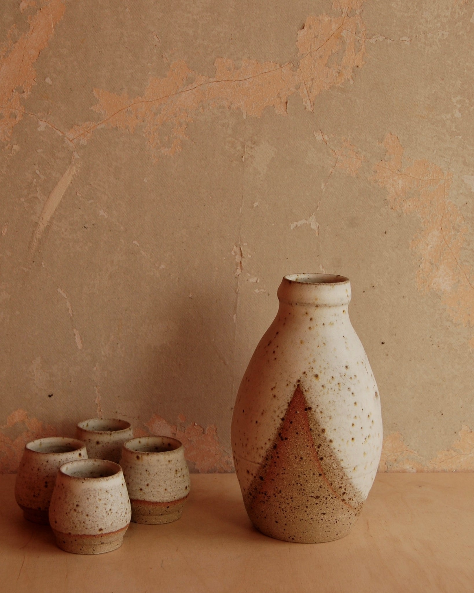 Hand Thrown Saki bottle and cup set