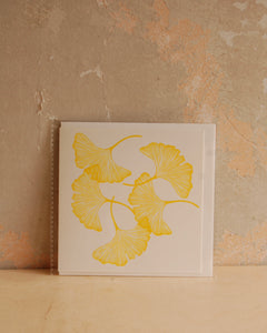 Yellow Ginkgo Linocut Card