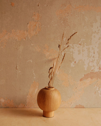 Spherical Oak stem vase
