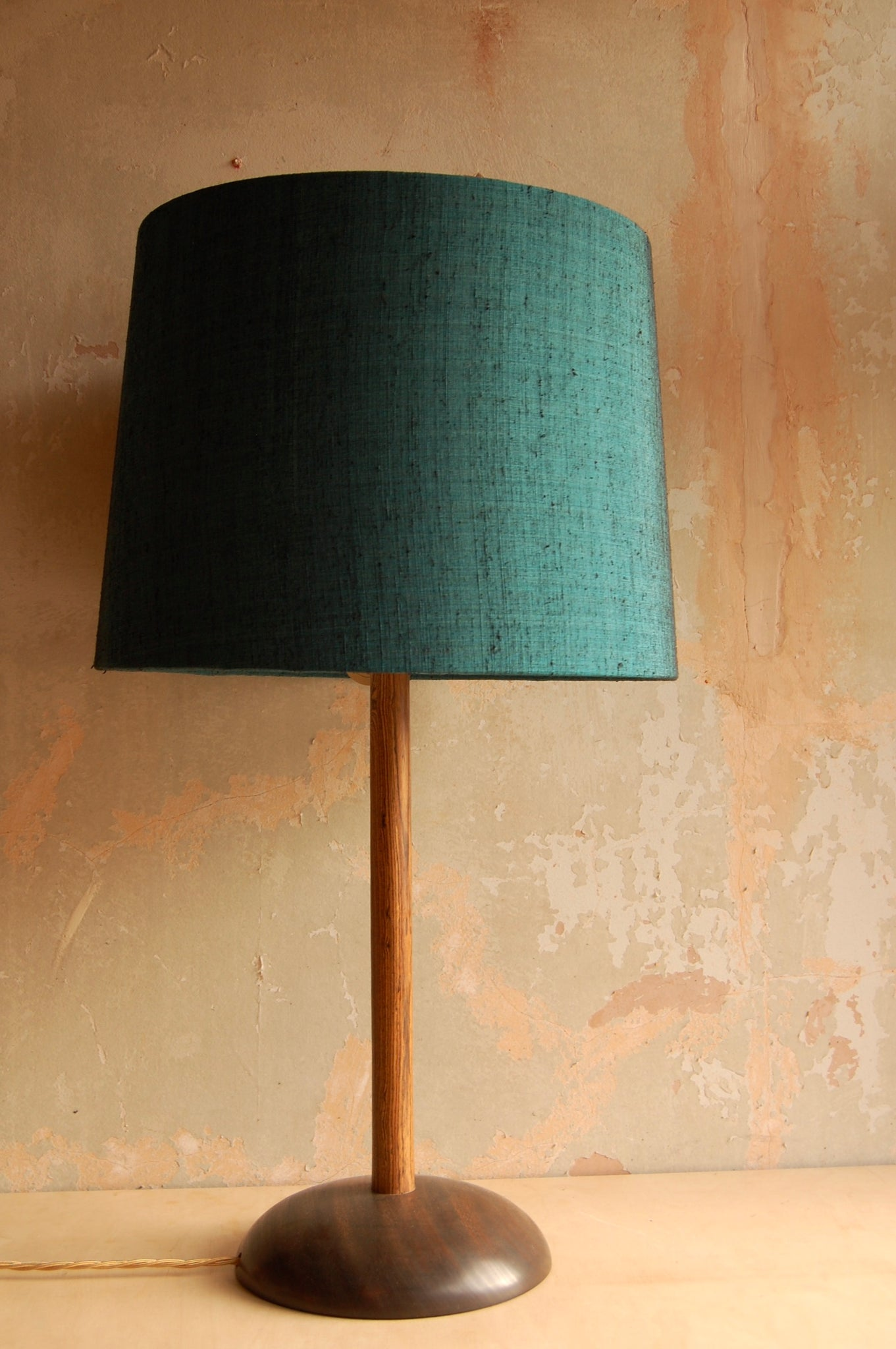 Sapele and Rosewood lamp with vintage silk shade