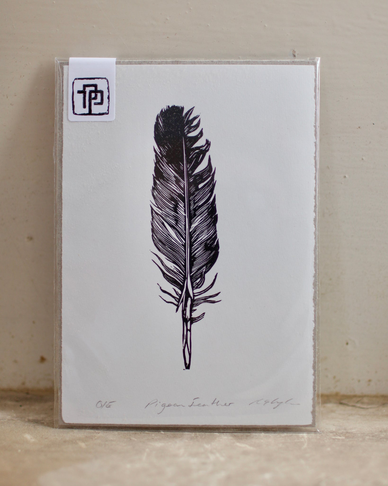 Pigeon Feather Linocut Print