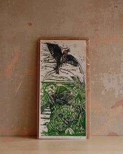 Lark Ascending two colour lino print