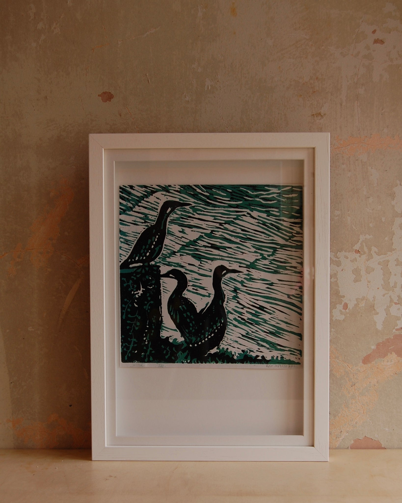 Three Cormorants lino print