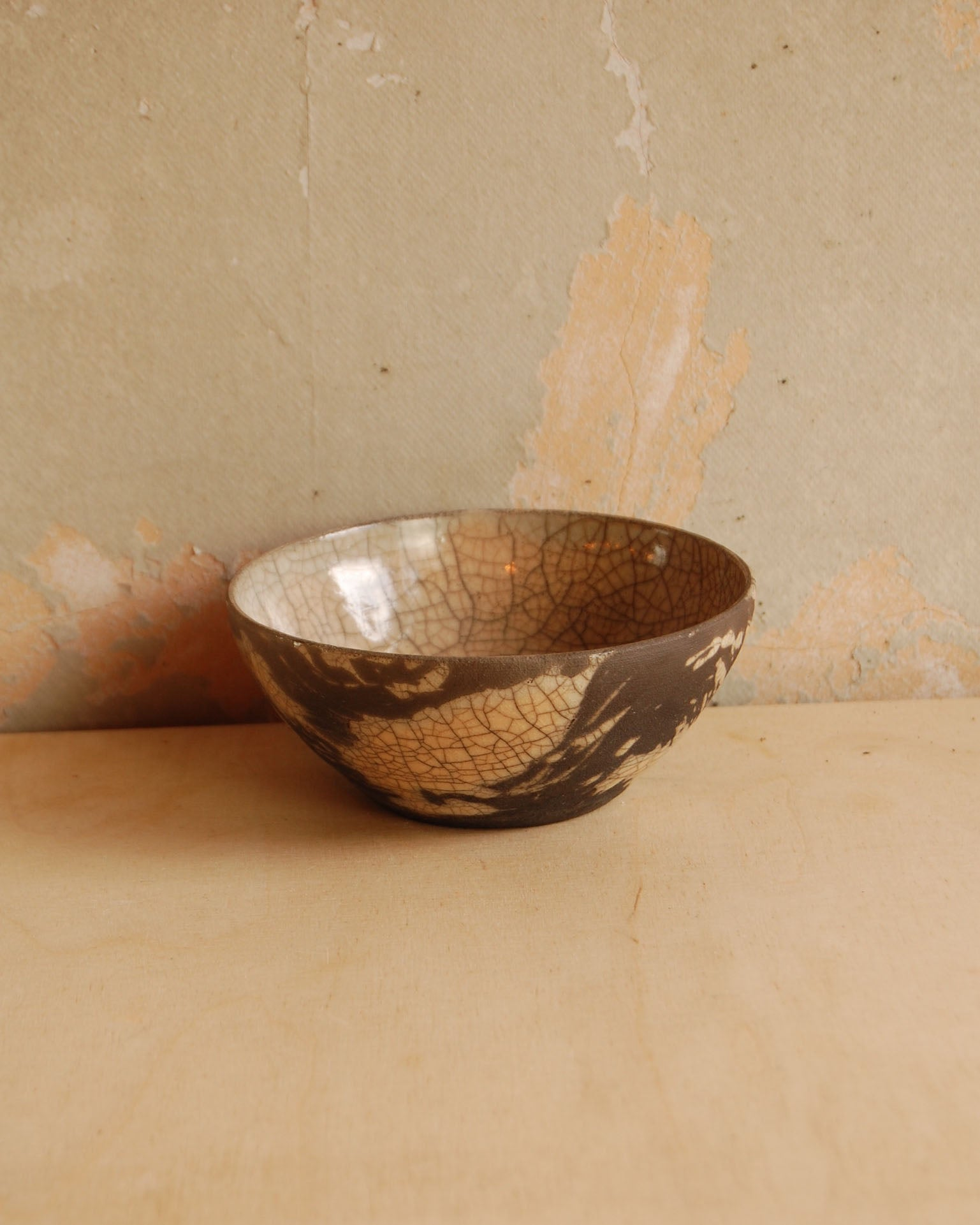 Raku bowl small, black and oatmeal