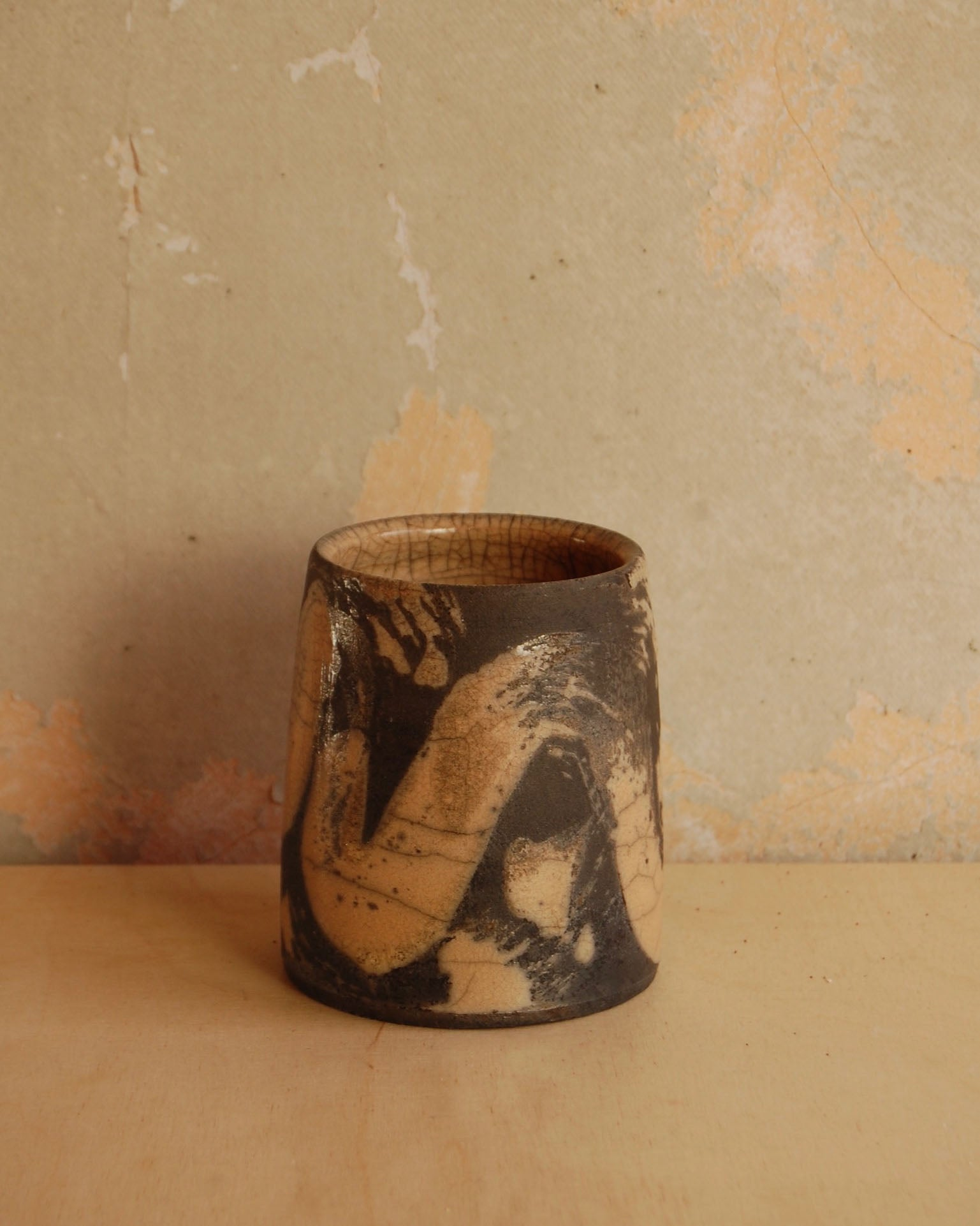 Raku jar/vase large black and oatmeal