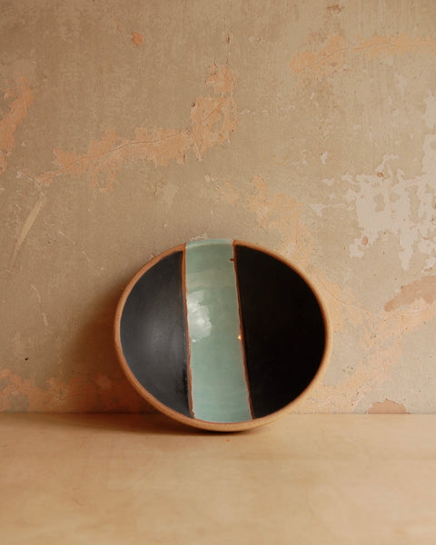 Large stoneware bowl, interior black with turquoise stripe