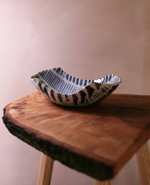 Tape resist stoneware bowl, blue and white stripes 3
