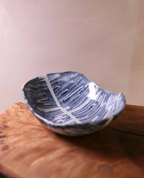 Tape resist stoneware bowl, blue and white stripes 4