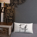 Throw Pillow White 20in x 12in - Faith