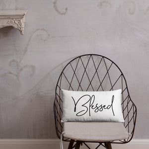 Throw Pillow White 20in x 12in - Blessed