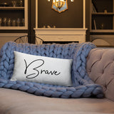Throw Pillow White 20in x 12in - Brave