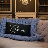 Throw Pillow Black 20in x 12in - Brave